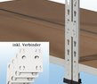 MP20M / MP23M Doppelregal - inkl. 4 Verbinder